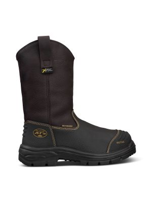 240mm Brown Pull On Riggers Boot - 100% Waterproof