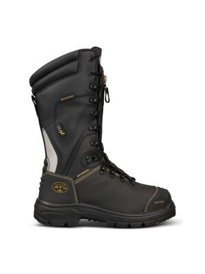 350mm Black Laced In Zip Mining Boot - 100% Waterproof